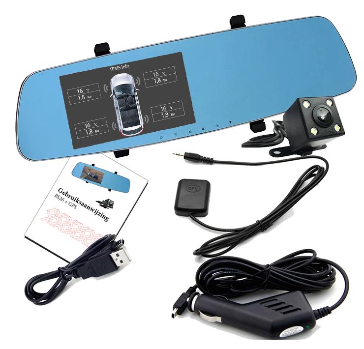 Dashcam binnenspiegel met GPS met TPMS