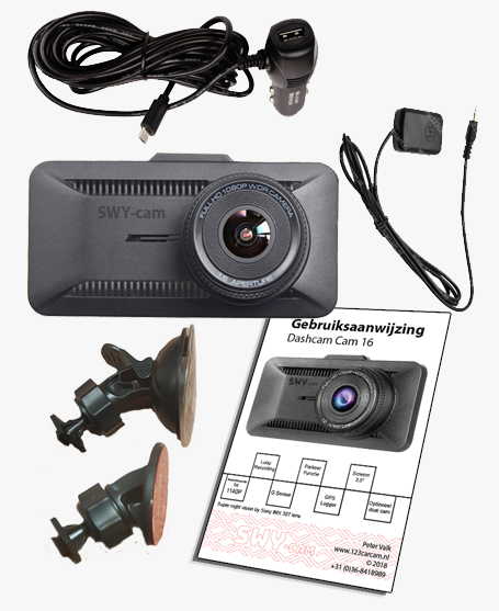 Dashcam SWY cam 16 in de doos