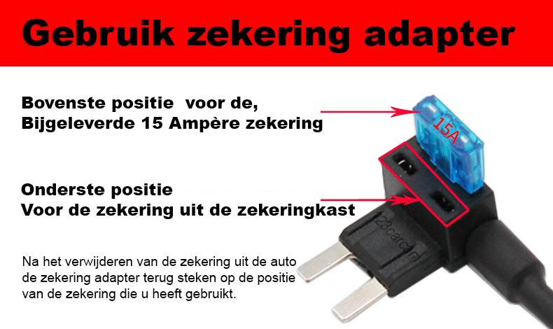 gebruik zekering adapter