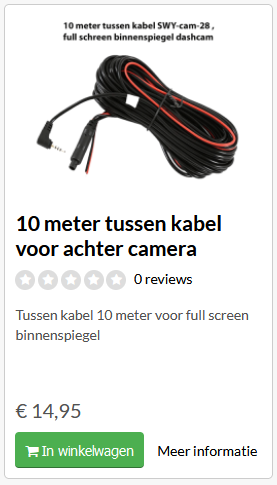 10 meter tussenkabel binnenspiegel dashcam